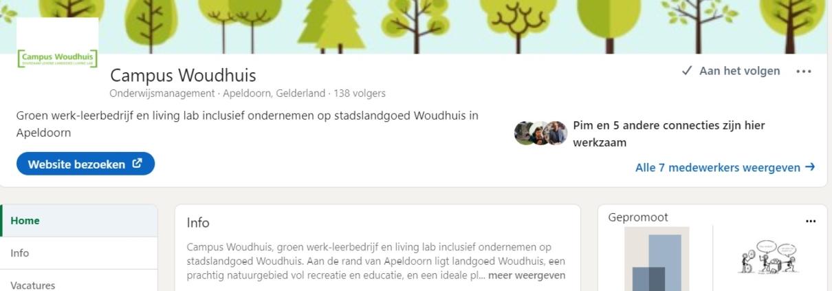 LinkedIn-pagina Campus Woudhuis